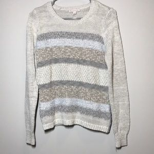 Christopher & Banks CB Striped Sweater Cream